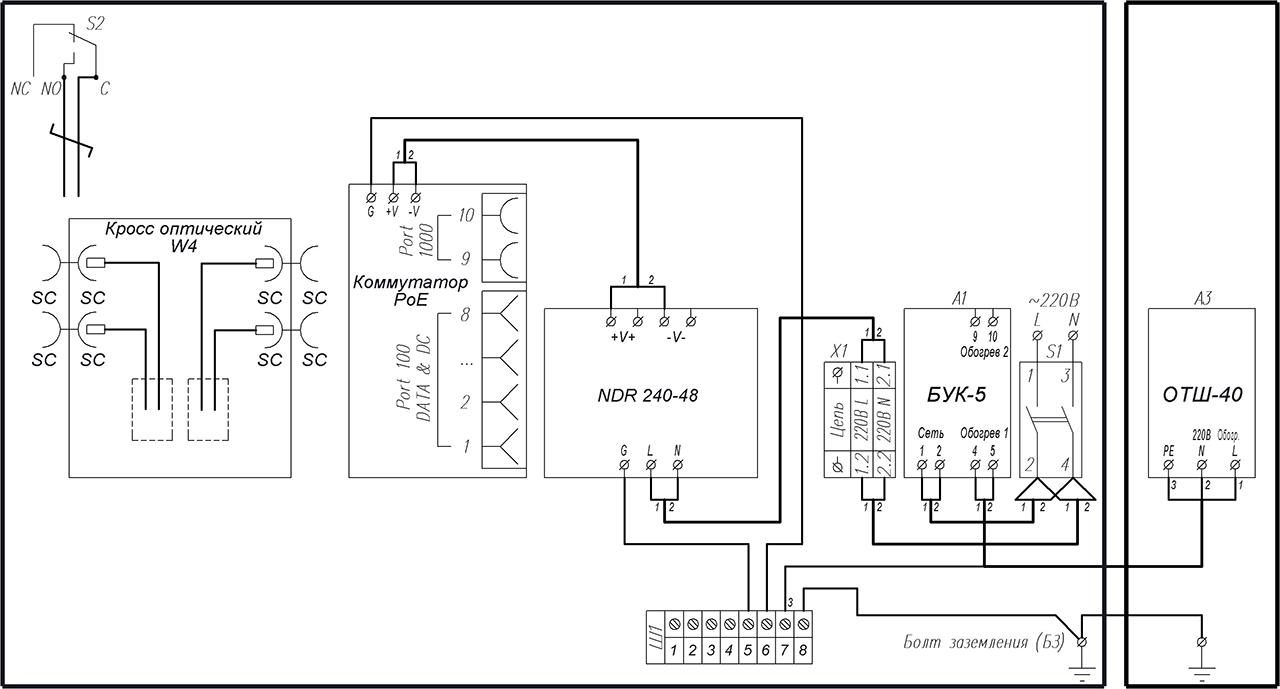 Схема электрическая принципиальная ВУК-18У-РоЕ+