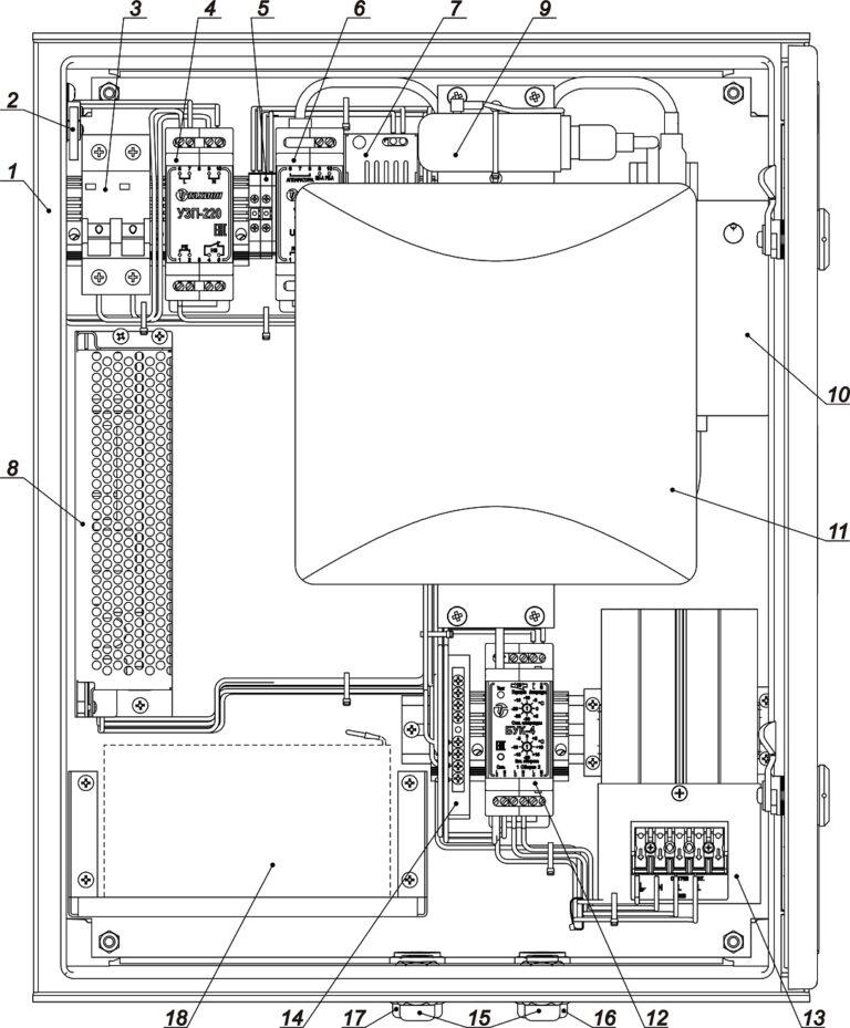 Устройство ВАУВ GSM1-24В ( ТШП-3-10) (дверь открыта на 90°)