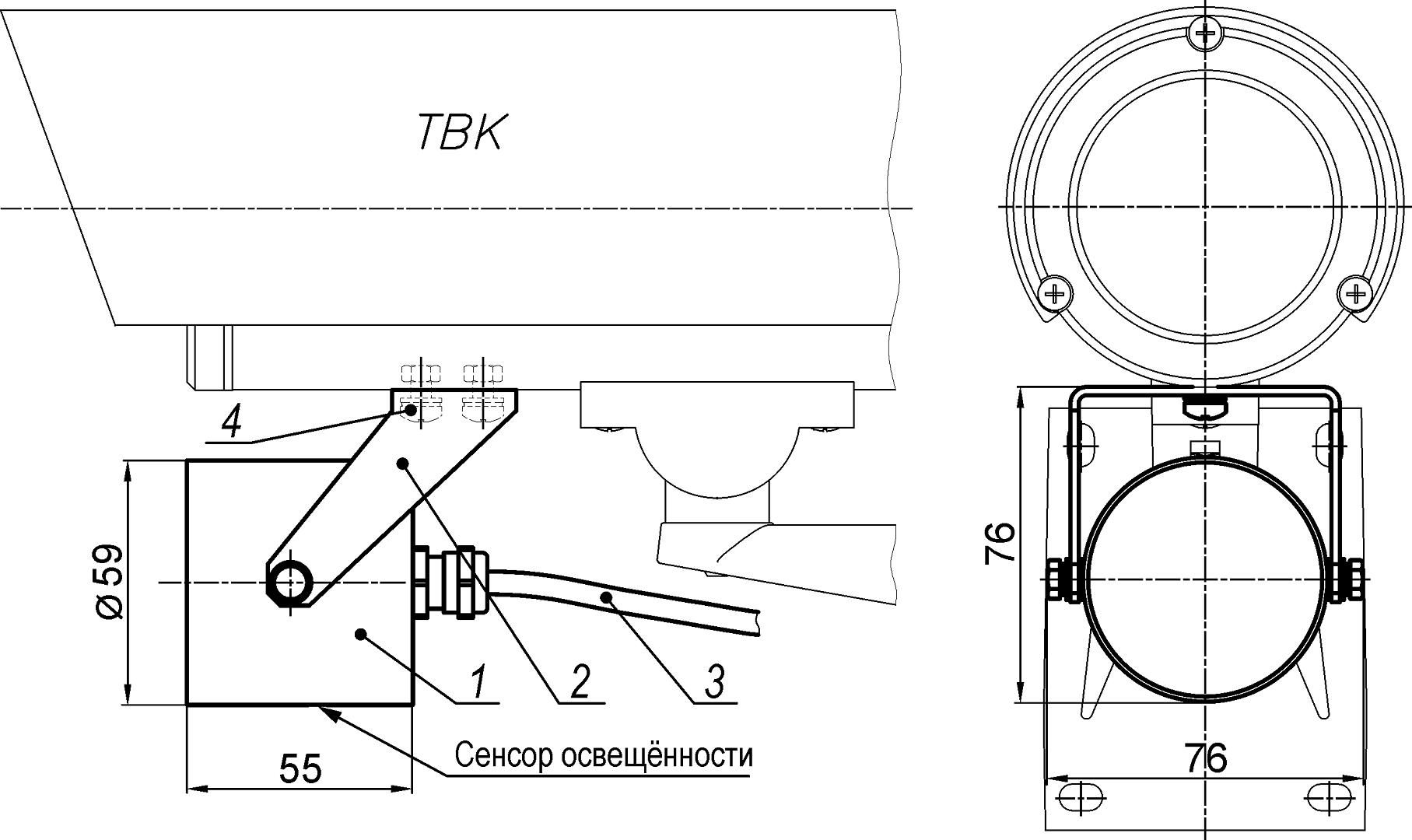 Габаритные размеры и состав прожекторы ПИП-30/20, ПИП-50/10