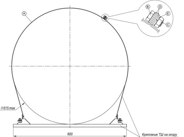 Комплект удлинителя для крепления ТШ на опору 14