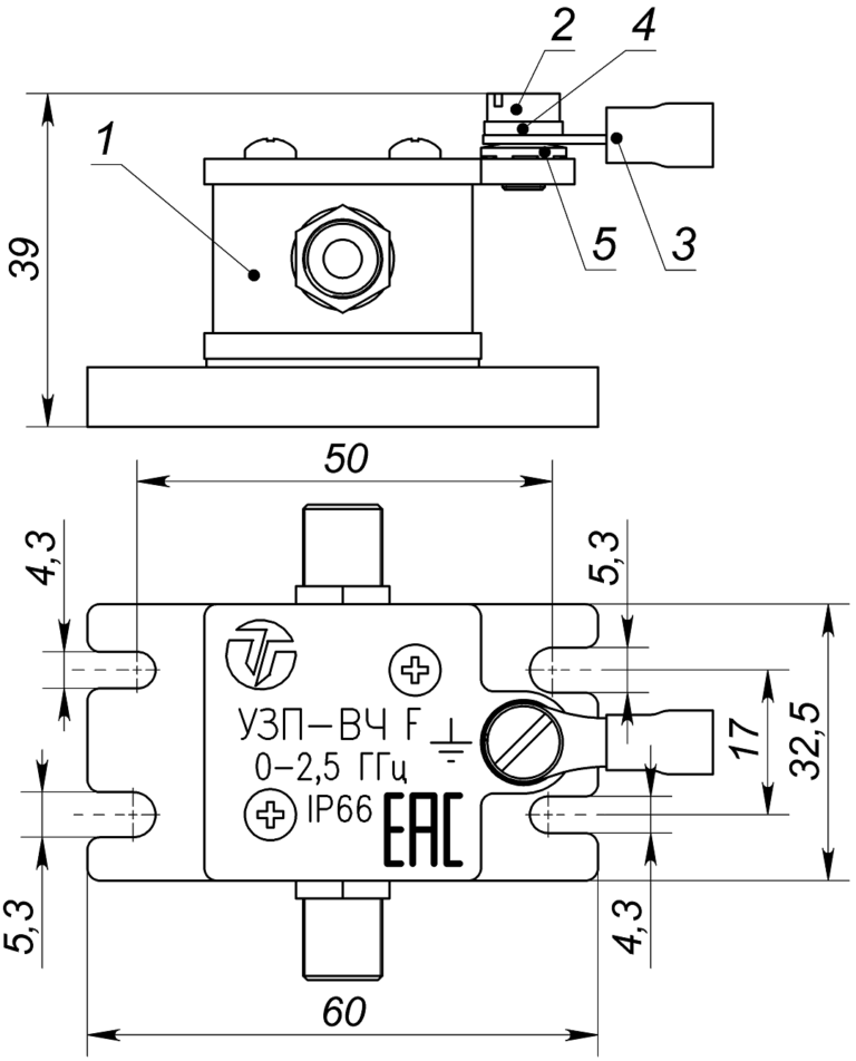 Состав и габаритно установочные размеры УЗП-ВЧ F