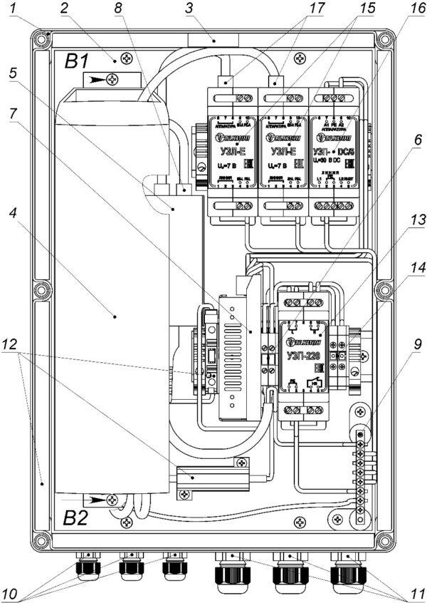 Устройство ВУС-1-12(24) исп.19 (и исп.31) (крышка не показана)