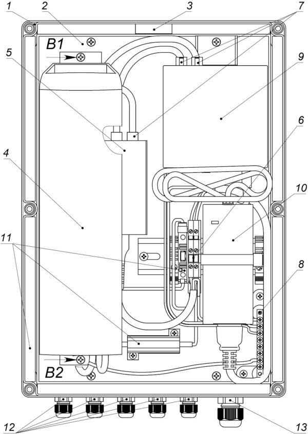 Устройство ВУС-1-PoE (крышка не показана)