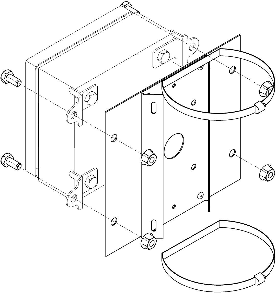 Монтаж КМ на квадратные и круглые опоры с помощью КС-10