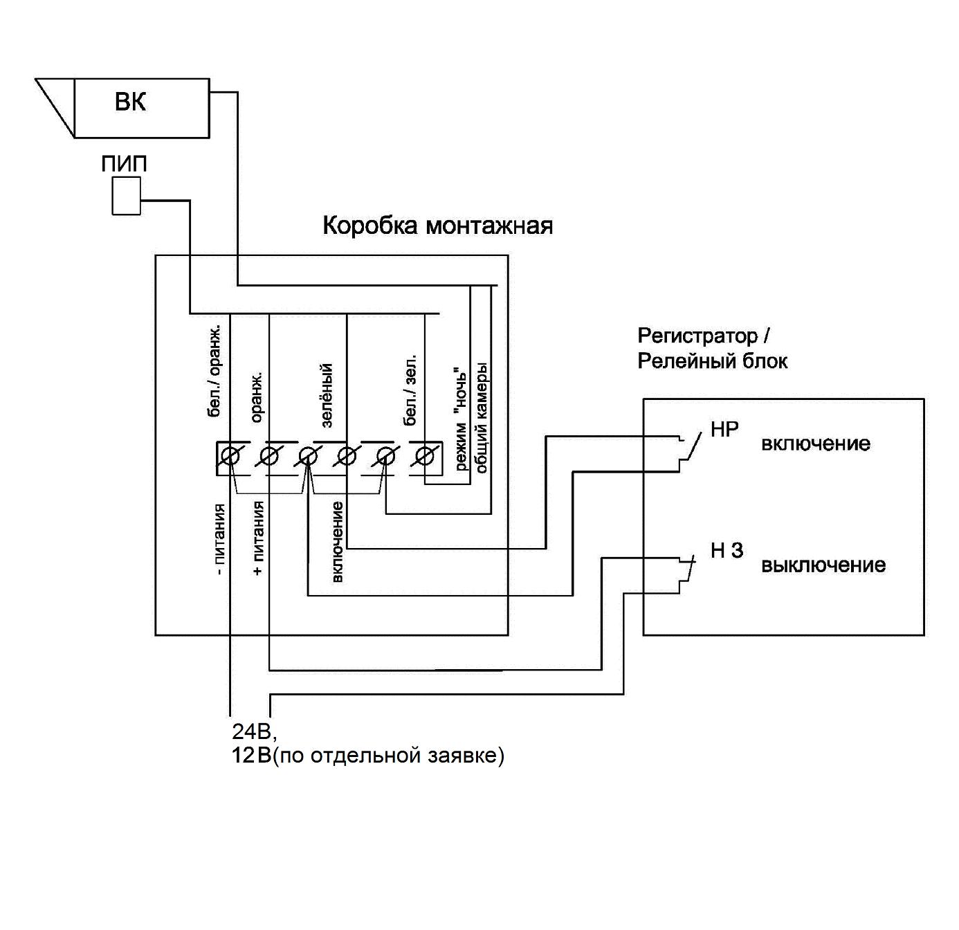 Схема подключения прожектора во всех режимах управления