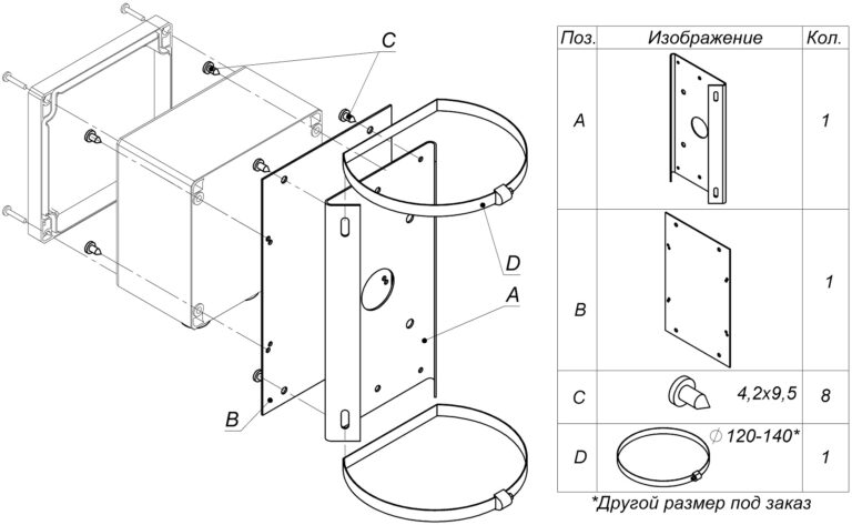 Установка коробок и шкафов монтажных на кронштейн КС-1-04
