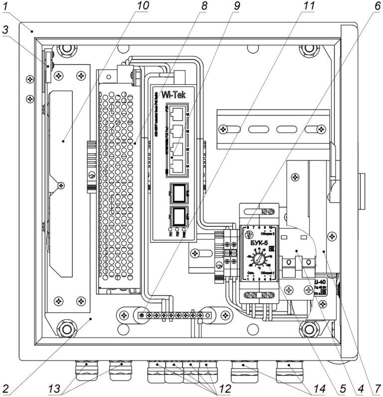 Устройство ВУК-14 РоЕ+ (дверь открыта на 90°)